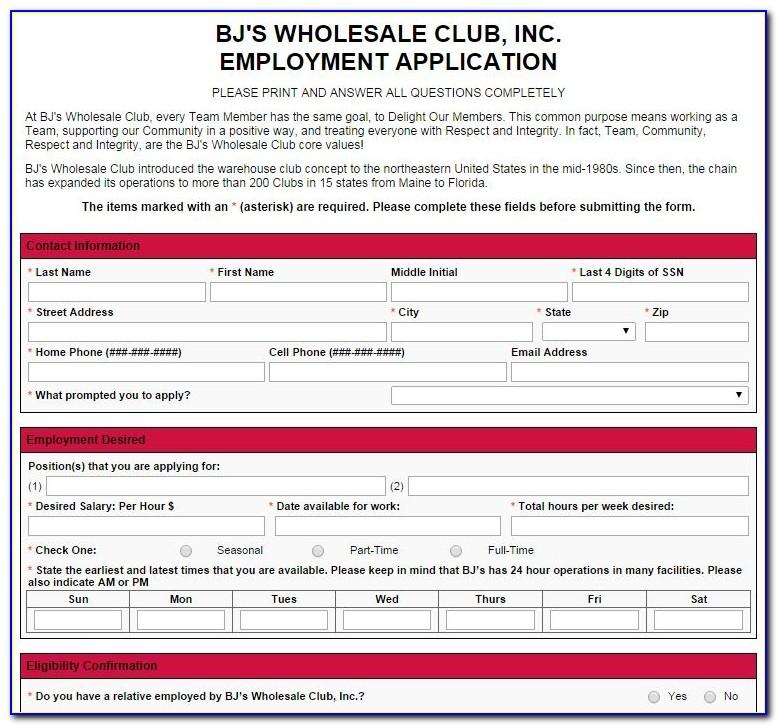 Bj's Wholesale Job Application Online