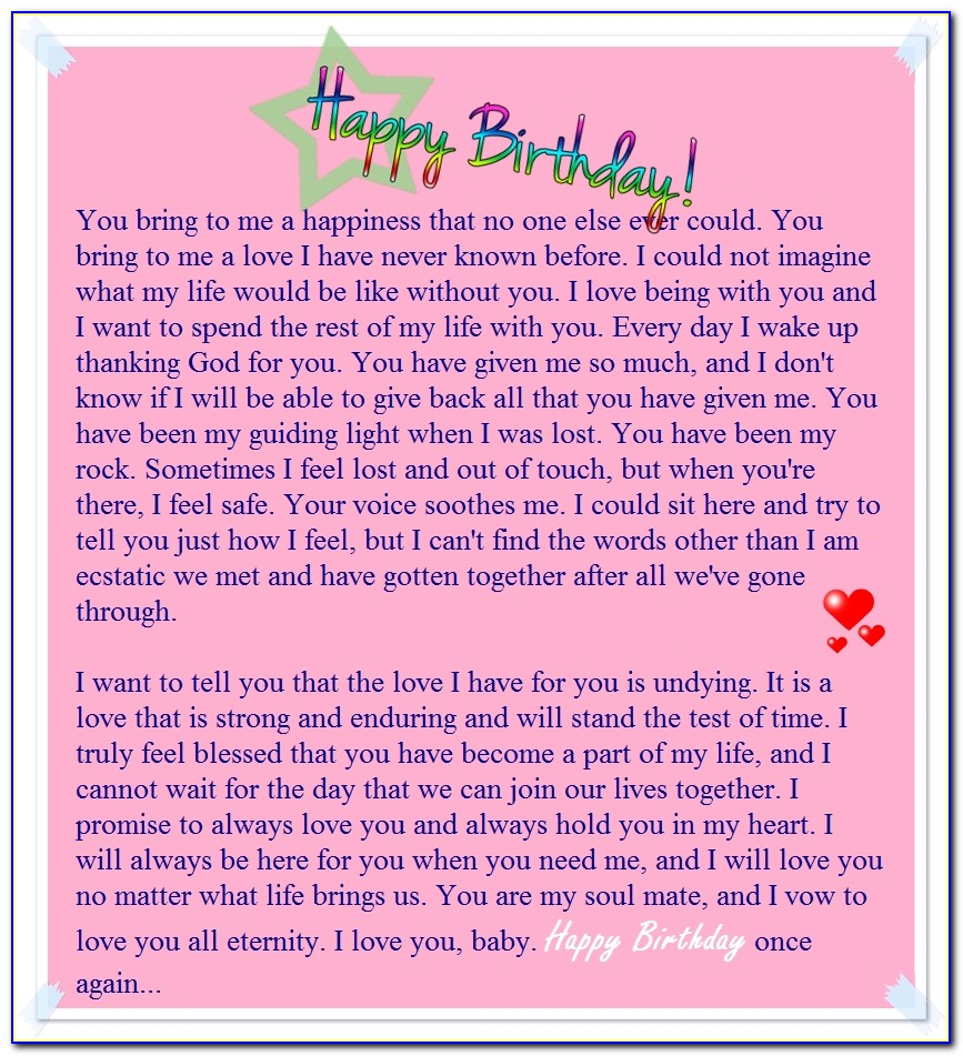 Cute Love Letter For Her Birthday