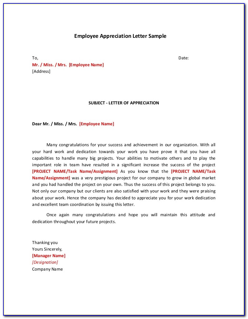 Employee Recognition Example Letters