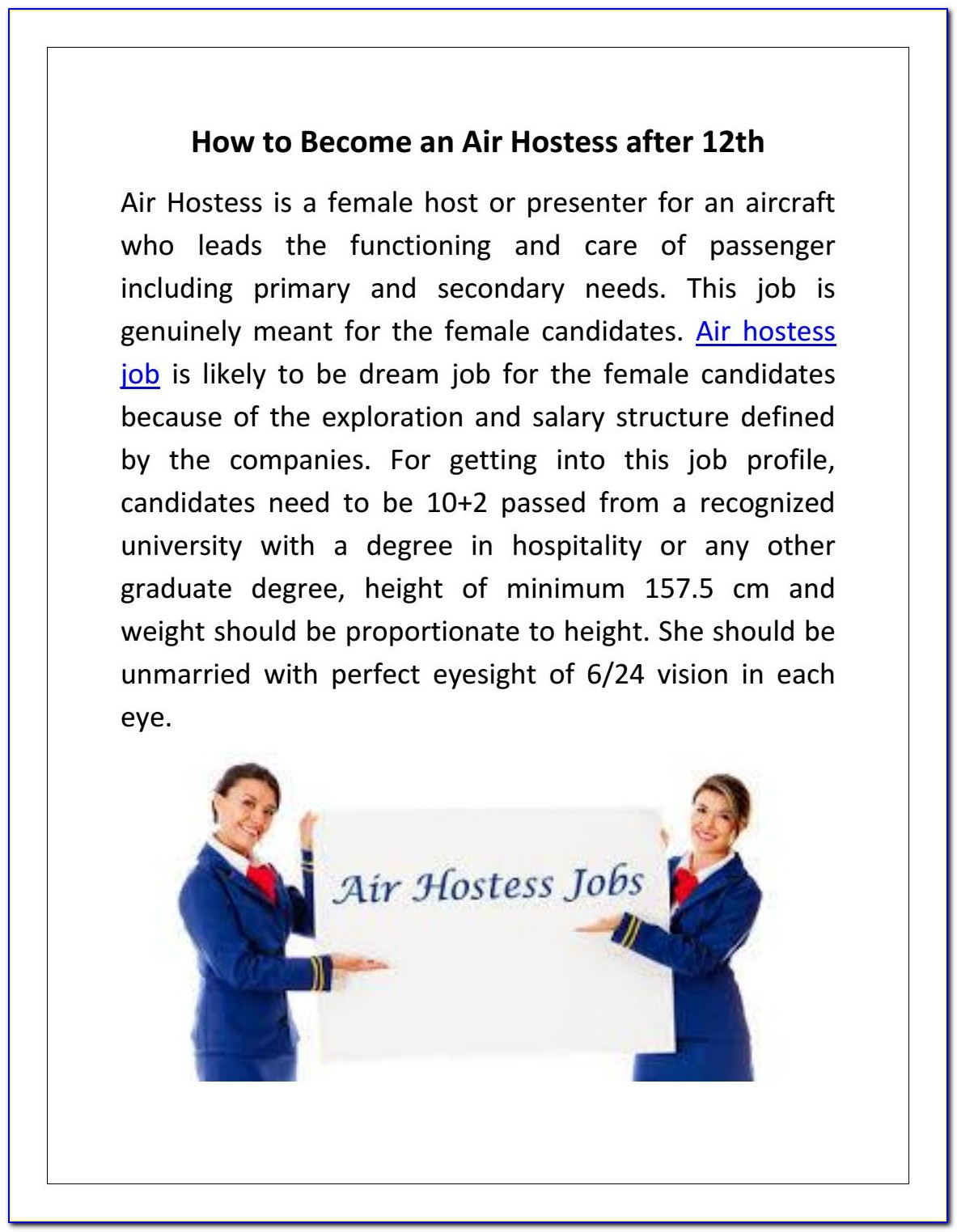 How To Apply For Air Hostess Jobs After 12th
