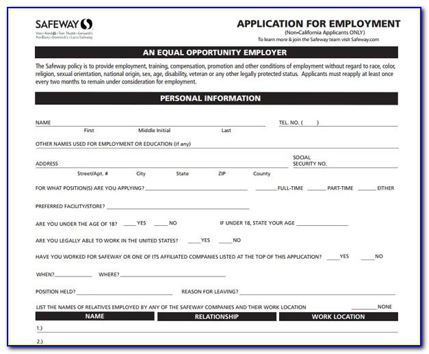 Job Application Form For Safeway