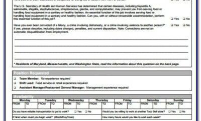 Job Application Form Taco Bell