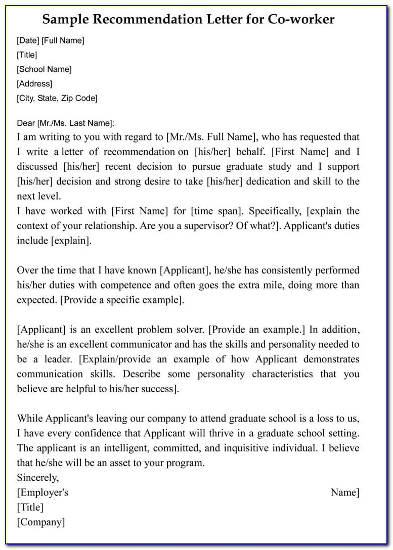 Letter Of Recommendation For Coworker Linkedin