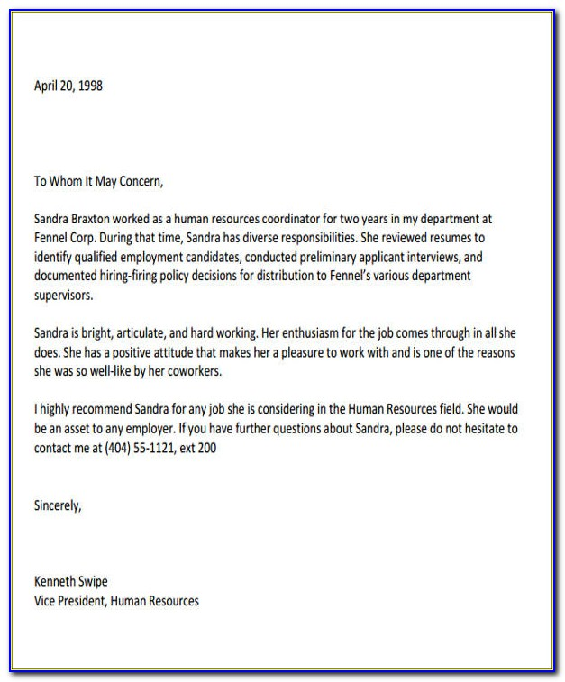 Letter Of Recommendation For Coworker Word