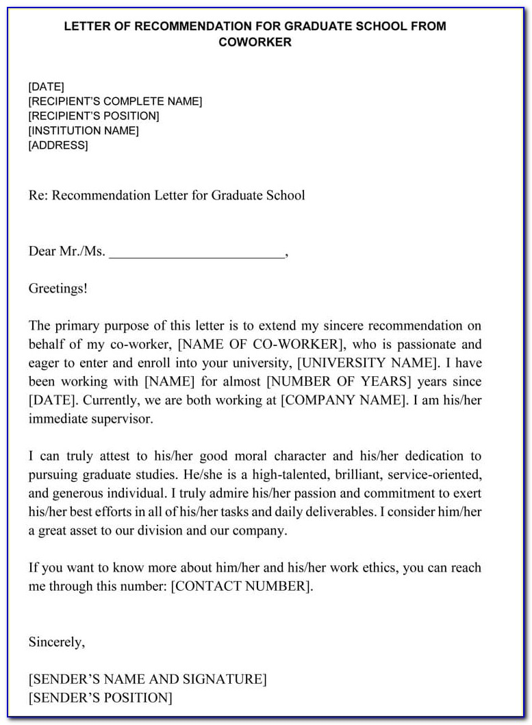Letter Of Recommendation For Nurse Coworker Examples
