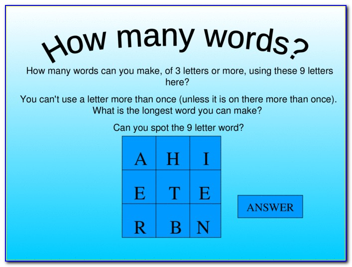 Make A Word Using These Letters And 2 Blanks