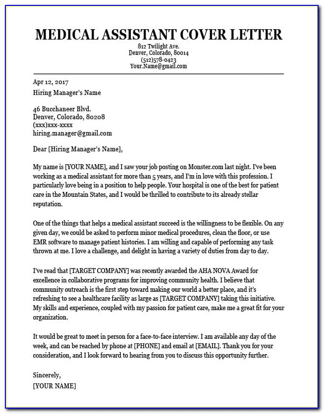 Medical Assistant Cover Letter Samples With No Experience