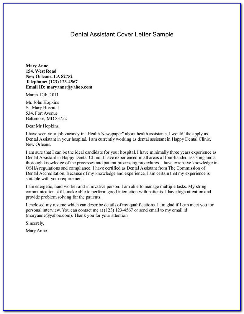 Nursing Assistant Cover Letter Examples