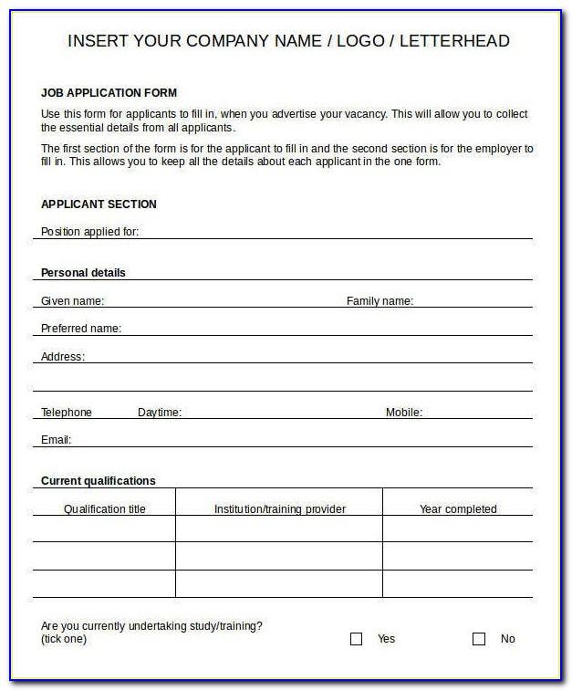 Printable Blank Job Applications