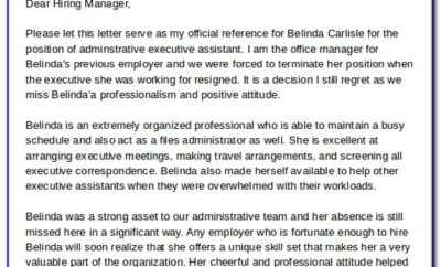 Reference Letter For Administrative Assistant Position