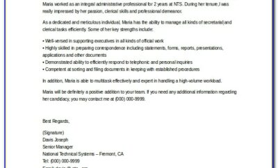 Reference Letter For Administrative Assistant Sample