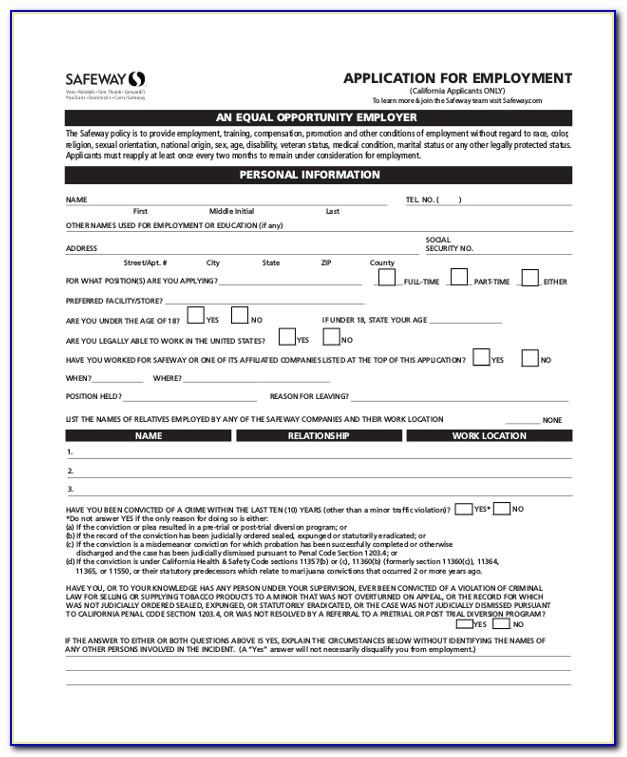 Safeway Jobs Application Form