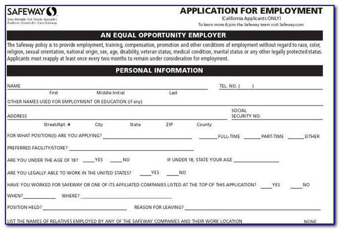 Safeway Online Employment Application