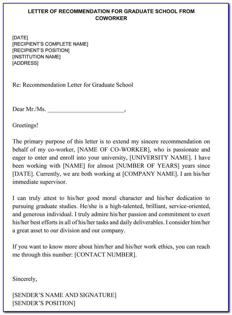 Sample Letter Of Recommendation For Coworker Teacher