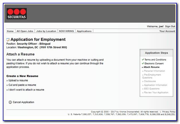 Securitas Job Application Login
