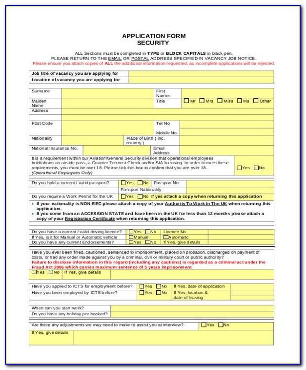 Security Guard Job Application Letter
