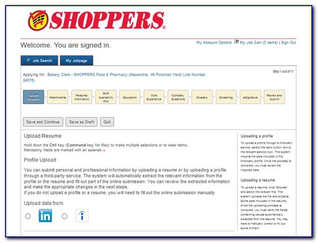 Shoppers Job Applications Online